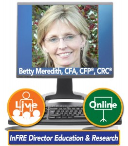 Betty Meredith, CFA, CFP®, CRC® – InFRE Director Education & Research