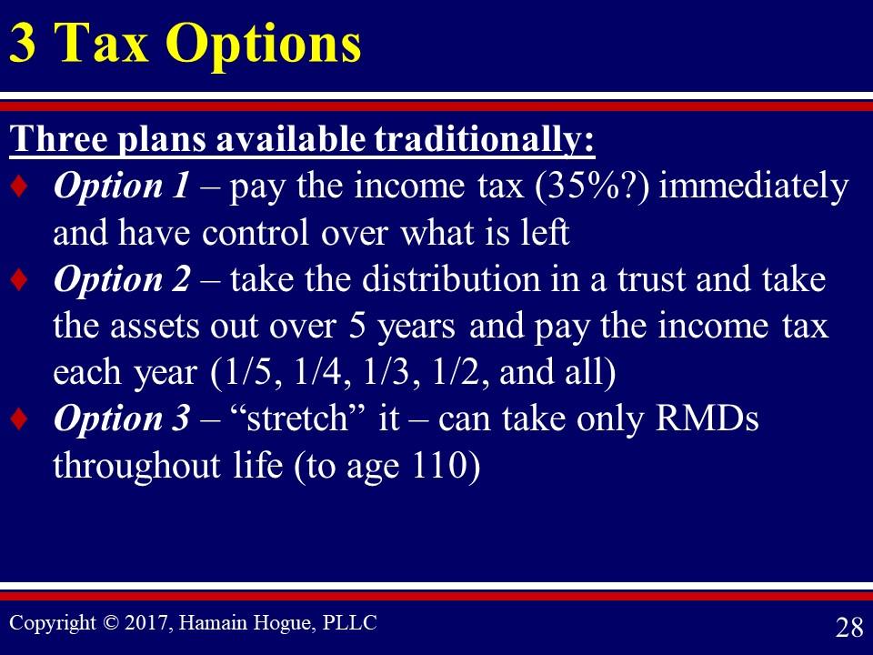Three Tax Options