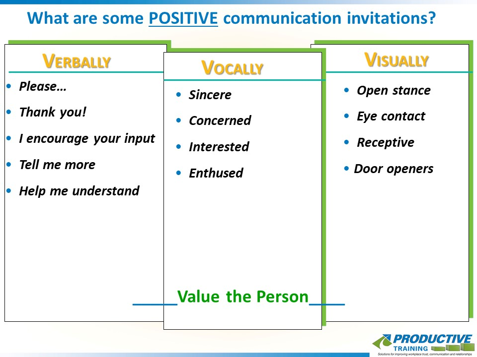 What are some POSITIVE communication invitations?